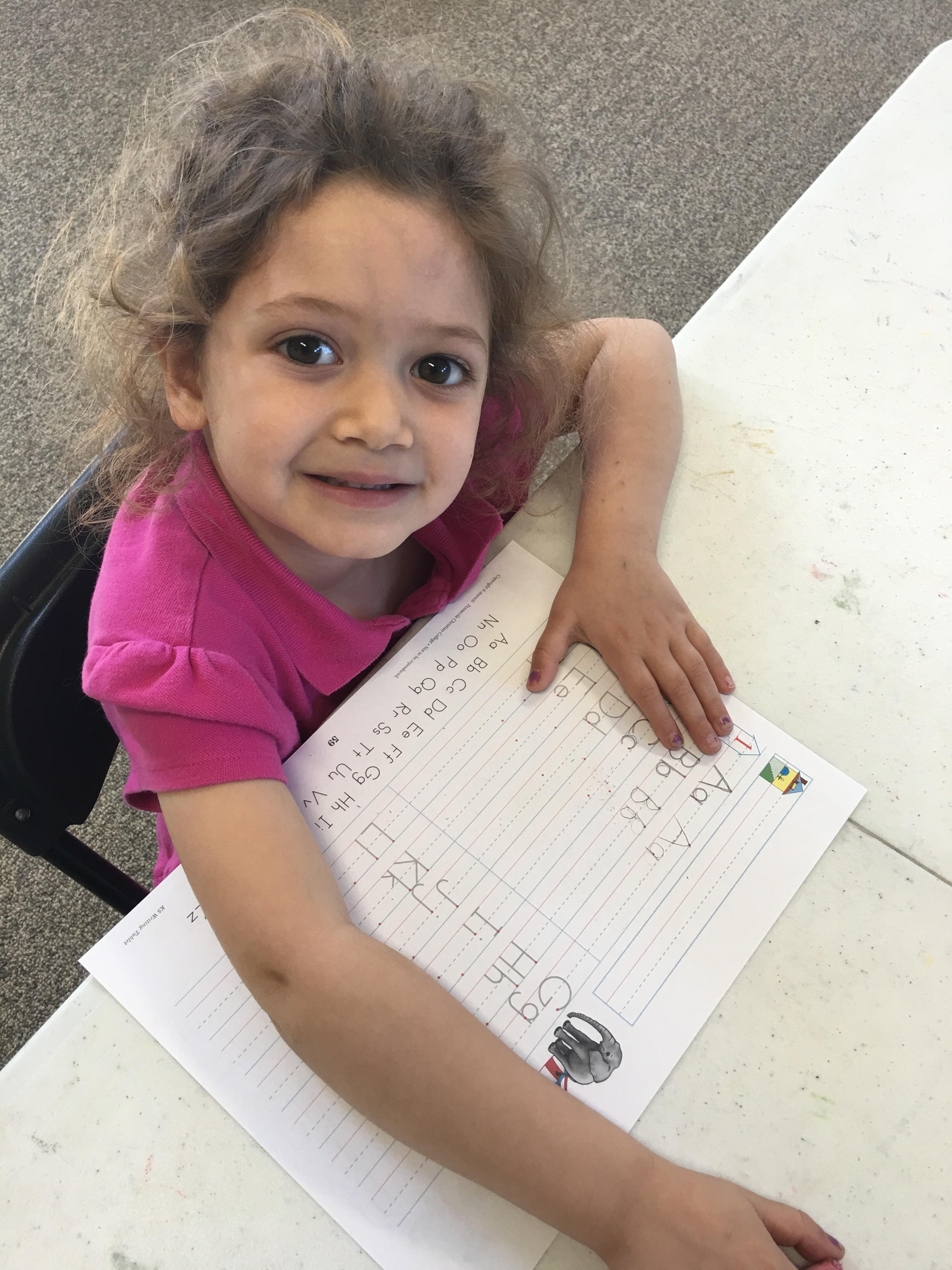 Little ones learn to write.